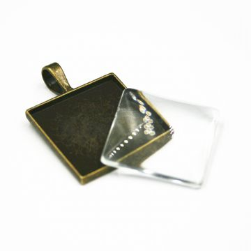1pce x 25mm Make your own pendant kit - square - antique brass - C8008083